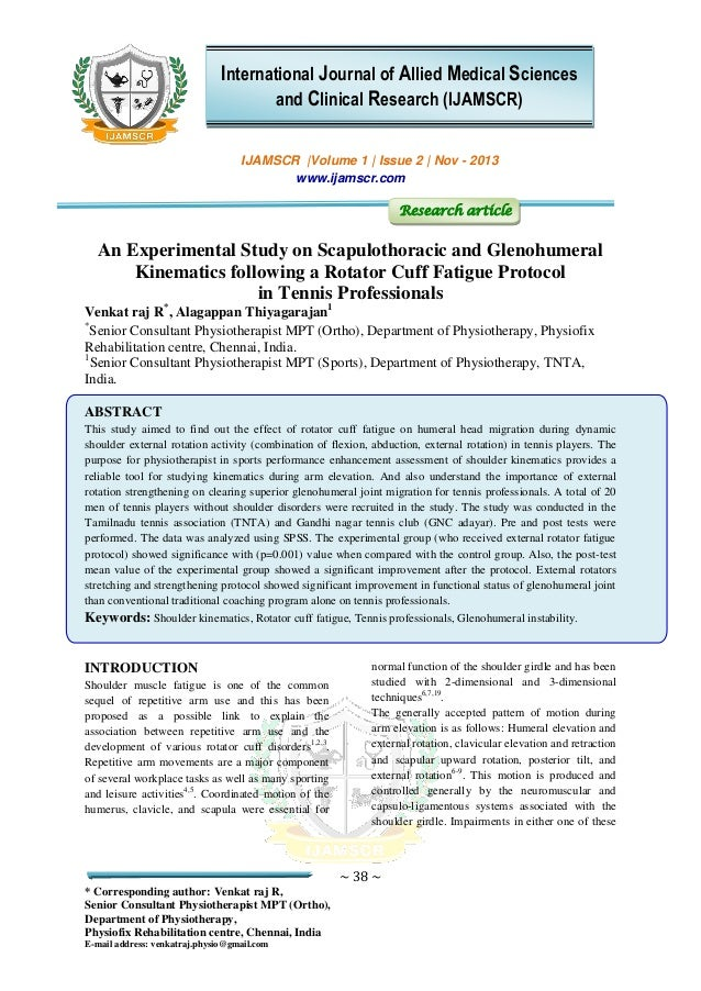 An experimental study on scapulothoracic and glenohumeral kinematics …