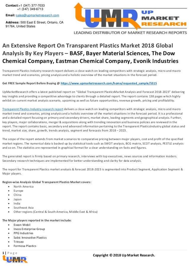 An extensive report on transparent plastics market 2018