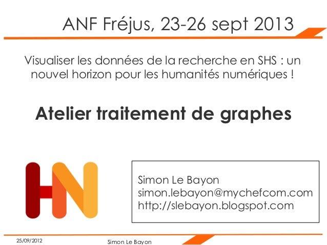 Simon Le Bayon25/09/2012 ANF Fréjus, 23-26 sept 2013 Visualiser les données de la recherche en SHS : un nouvel horizon pou...