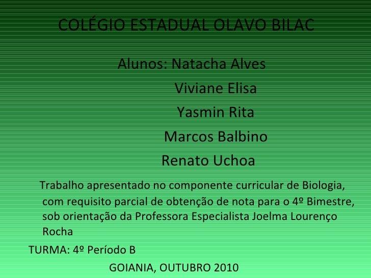 COLÉGIO ESTADUAL OLAVO BILAC <ul><li>Alunos: Natacha Alves </li></ul><ul><li>Viviane Elisa </li></ul><ul><li>Yasmin Rita <...
