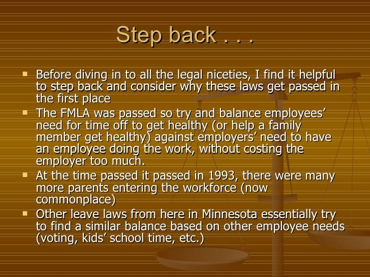 History of the FMLA