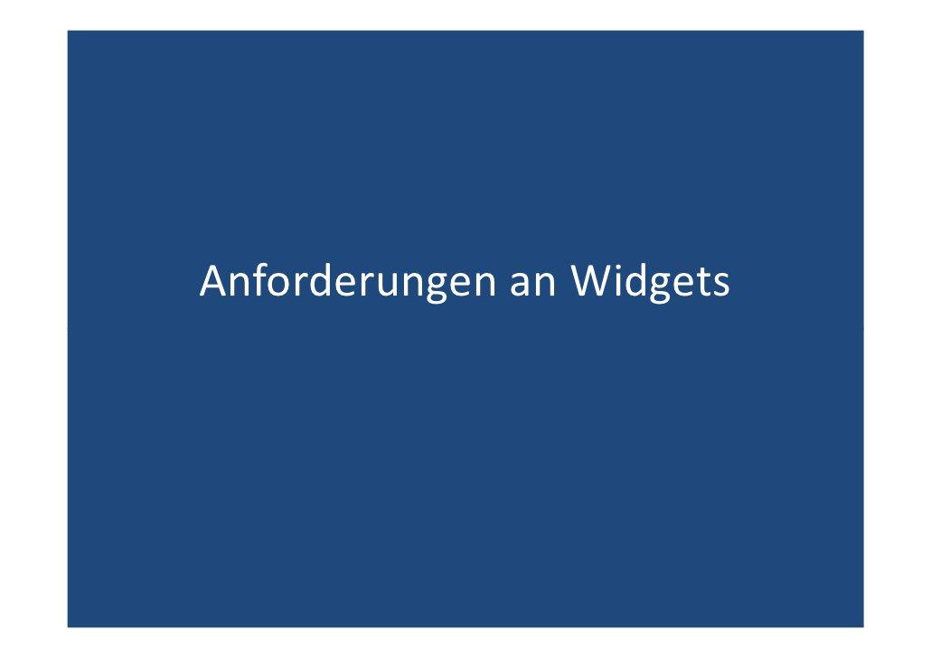 Anforderungen an Widgets
