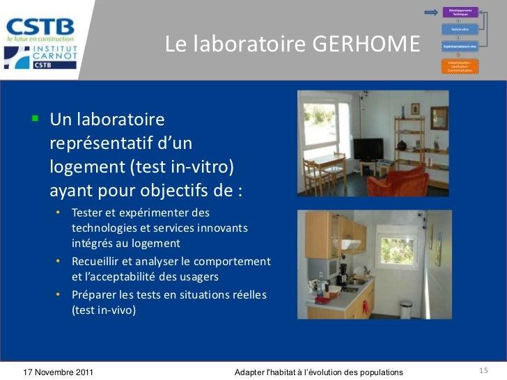 Le laboratoire GERHOME  Un laboratoire   représentatif d'un   logement (test in-vitro)   ayant pour objectifs de :       ...