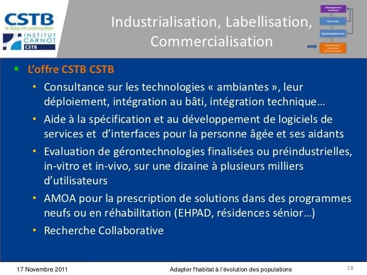 Industrialisation, Labellisation,                         Commercialisation L'offre CSTB CSTB   • Consultance sur les tec...
