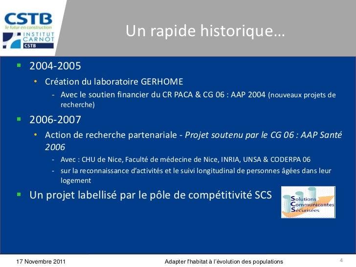Un rapide historique… 2004-2005     • Création du laboratoire GERHOME           - Avec le soutien financier du CR PACA & ...