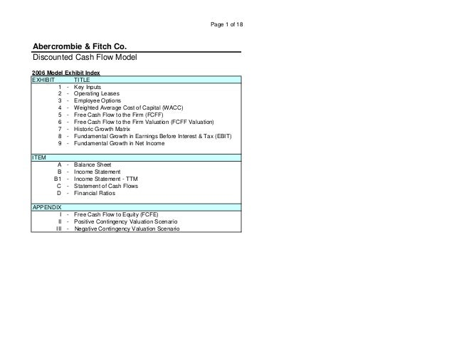 Page 1 of 18 Discounted Cash Flow Model 2006 Model Exhibit Index EXHIBIT TITLE 1 - Key Inputs 2 - Operating Leases 3 - Emp...