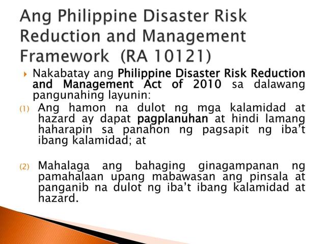  Abarquez at Zubair (2004) ang Community-Based Disaster Risk Management ay isang pamamaraan kung saan ang mga pamayanang ...