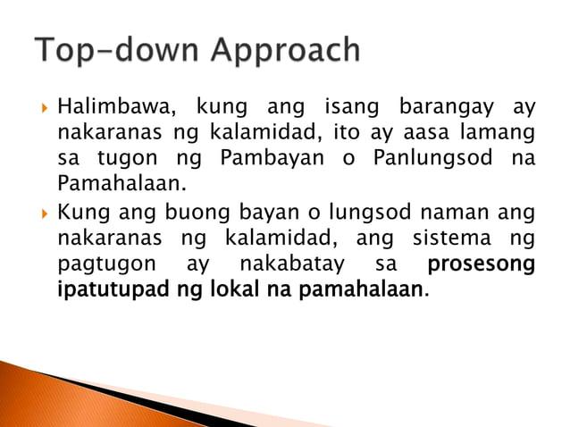  Isinasagawa ang Disaster Risk Assessment kung saan nakapaloob dito ang ◦ Hazard Assessment, ◦ Vulnerability Assessment, ...