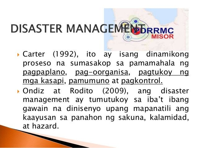  Malinaw na sinasabi dito na hindi lamang nakasalalay sa kamay ng pamahalaan ang pagbabalangkas ng disaster management pl...