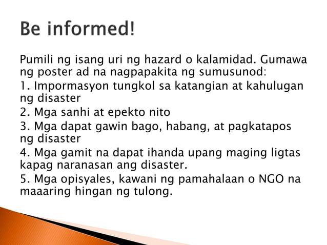  Sa yugtong ito ang mga hakbang at gawain ay nakatuon sa pagsasaayos ng mga nasirang pasilidad at istruktura at mga naant...