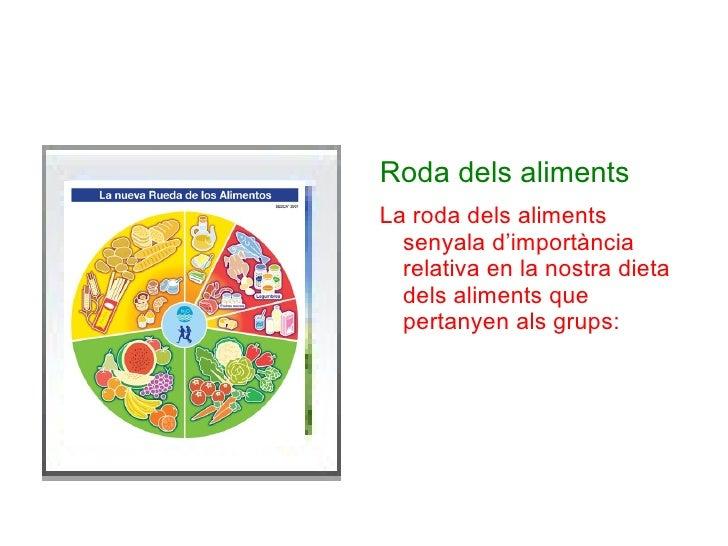 <ul>Roda dels aliments La roda dels aliments senyala d'importància relativa en la nostra dieta dels aliments que pertanyen...