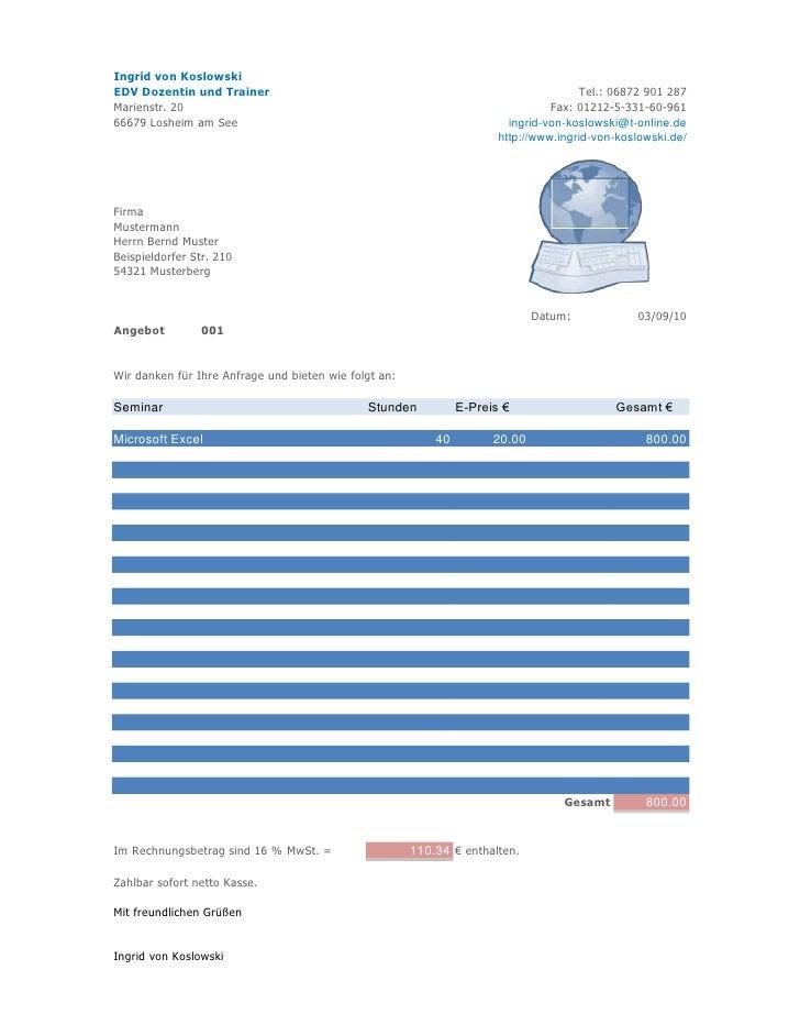 Angebot Mit Microsoft Excel Erstellen