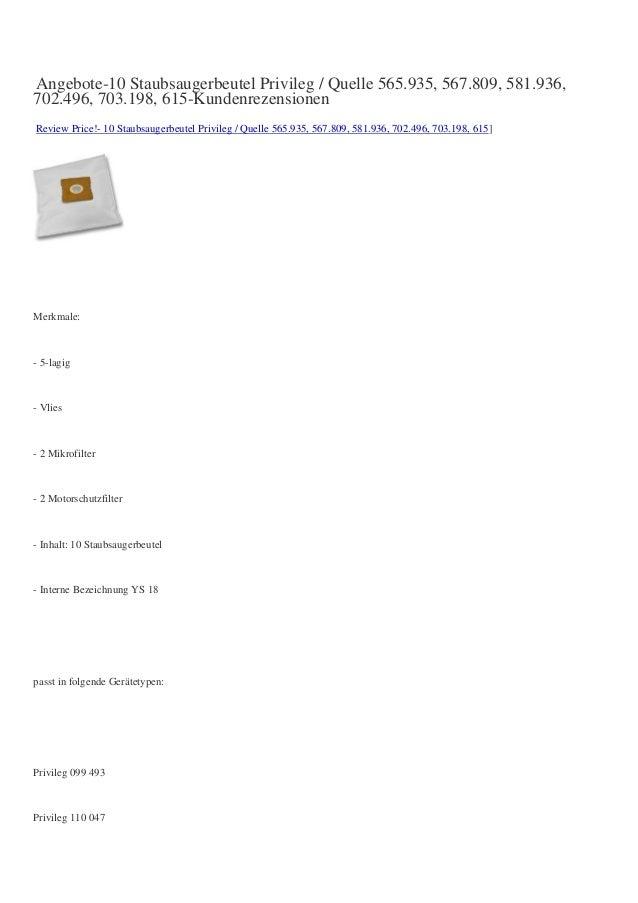 Angebote-10 Staubsaugerbeutel Privileg / Quelle 565.935, 567.809, 581.936, 702.496, 703.198, 615-Kundenrezensionen Review ...