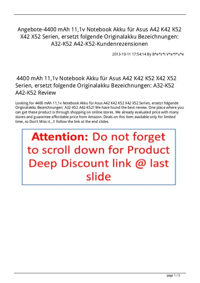 Angebote-4400 mAh 11,1v Notebook Akku für Asus A42 K42 K52 X42 X52 Serien, ersetzt folgende Originalakku Bezeichnungen: A3...