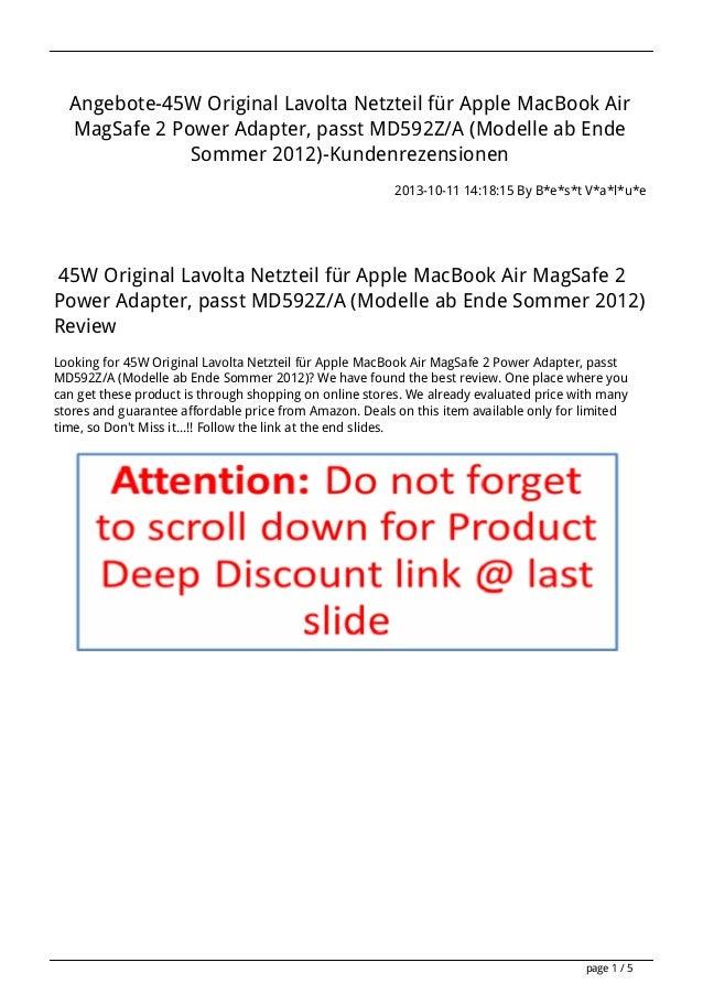 Angebote-45W Original Lavolta Netzteil für Apple MacBook Air MagSafe 2 Power Adapter, passt MD592Z/A (Modelle ab Ende Somm...