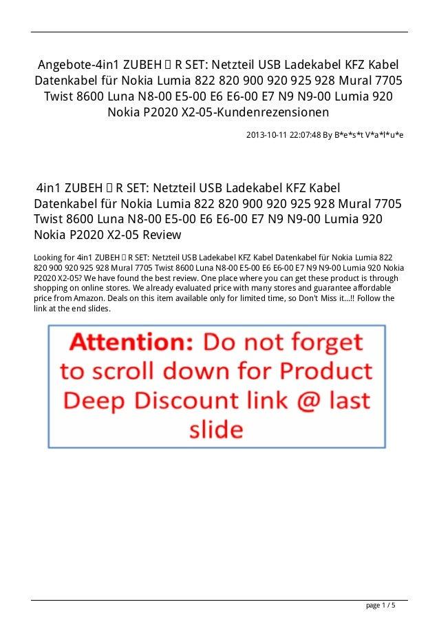 Angebote-4in1 ZUBEHÖR SET: Netzteil USB Ladekabel KFZ Kabel Datenkabel für Nokia Lumia 822 820 900 920 925 928 Mural 7705 ...