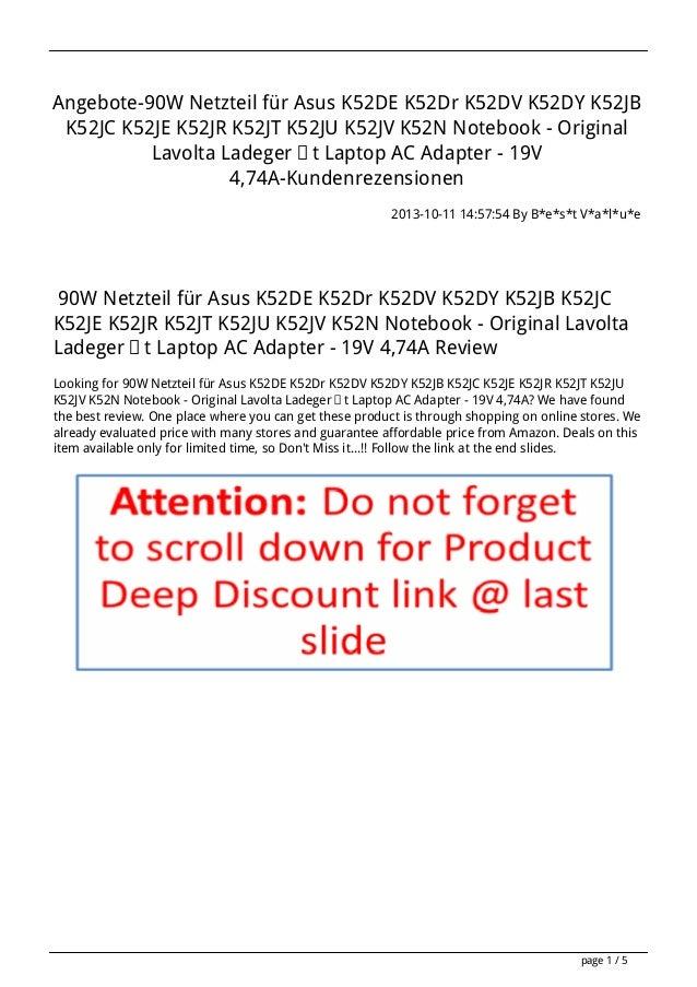 Angebote-90W Netzteil für Asus K52DE K52Dr K52DV K52DY K52JB K52JC K52JE K52JR K52JT K52JU K52JV K52N Notebook - Original ...