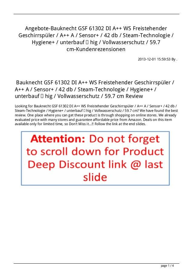 Angebote-Bauknecht GSF 61302 DI A++ WS Freistehender Geschirrspüler / A++ A / Sensor+ / 42 db / Steam-Technologie / Hygien...