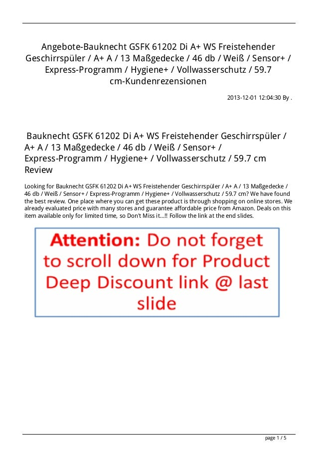 Angebote-Bauknecht GSFK 61202 Di A+ WS Freistehender Geschirrspüler / A+ A / 13 Maßgedecke / 46 db / Weiß / Sensor+ / Expr...