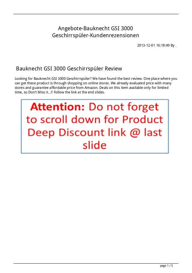 Angebote-Bauknecht GSI 3000 Geschirrspüler-Kundenrezensionen 2013-12-01 16:18:49 By .  Bauknecht GSI 3000 Geschirrspüler R...