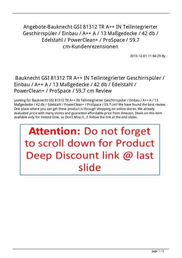 Angebote-Bauknecht GSI 81312 TR A++ IN Teilintegrierter Geschirrspüler / Einbau / A++ A / 13 Maßgedecke / 42 db / Edelstah...