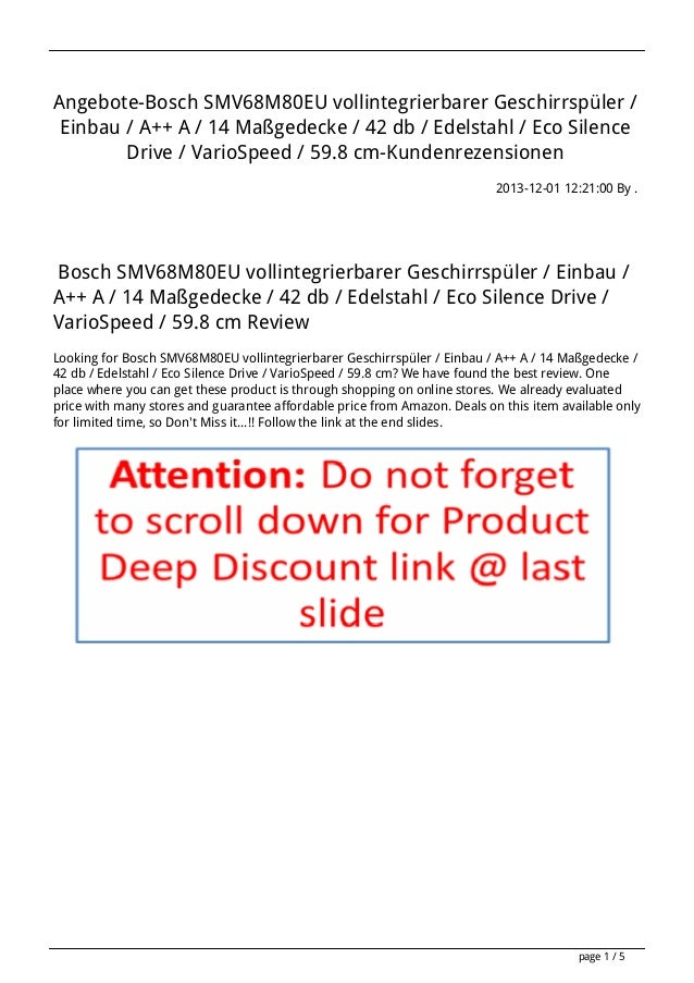 Angebote-Bosch SMV68M80EU vollintegrierbarer Geschirrspüler / Einbau / A++ A / 14 Maßgedecke / 42 db / Edelstahl / Eco Sil...