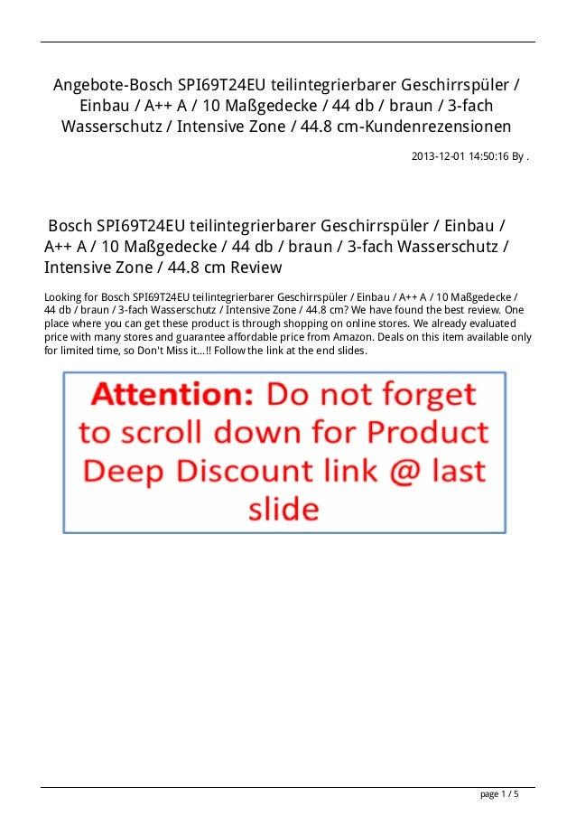 Angebote-Bosch SPI69T24EU teilintegrierbarer Geschirrspüler / Einbau / A++ A / 10 Maßgedecke / 44 db / braun / 3-fach Wass...