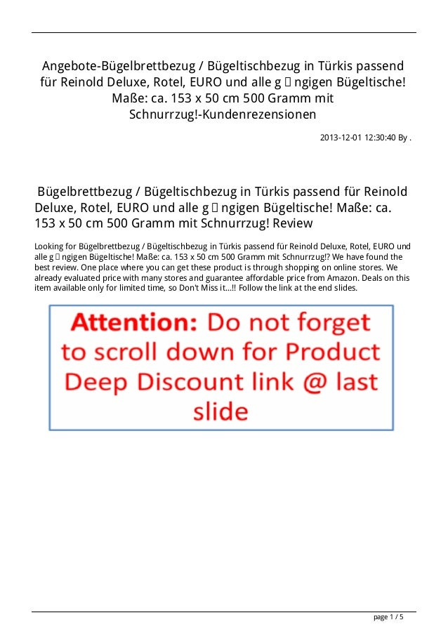 Angebote-Bügelbrettbezug / Bügeltischbezug in Türkis passend für Reinold Deluxe, Rotel, EURO und alle gängigen Bügeltische...