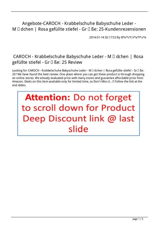 Angebote-CAROCH - Krabbelschuhe Babyschuhe Leder Mädchen | Rosa gefüllte stiefel - Größe: 25-Kundenrezensionen 2014-01-14 ...