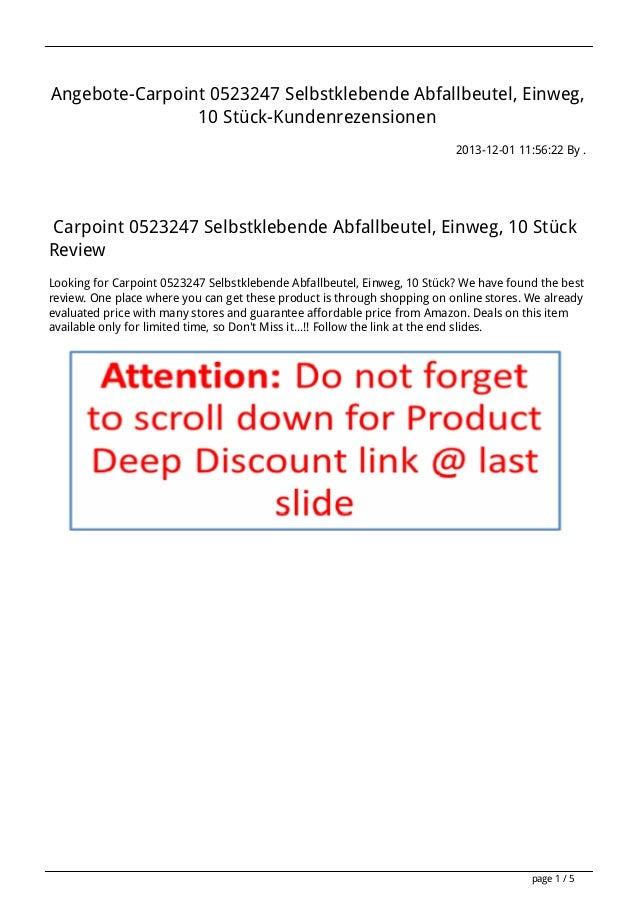Angebote-Carpoint 0523247 Selbstklebende Abfallbeutel, Einweg, 10 Stück-Kundenrezensionen 2013-12-01 11:56:22 By .  Carpoi...