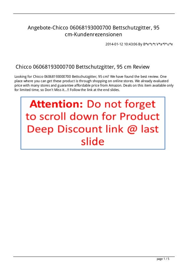 Angebote-Chicco 06068193000700 Bettschutzgitter, 95 cm-Kundenrezensionen 2014-01-12 10:43:06 By B*e*s*t V*a*l*u*e  Chicco ...