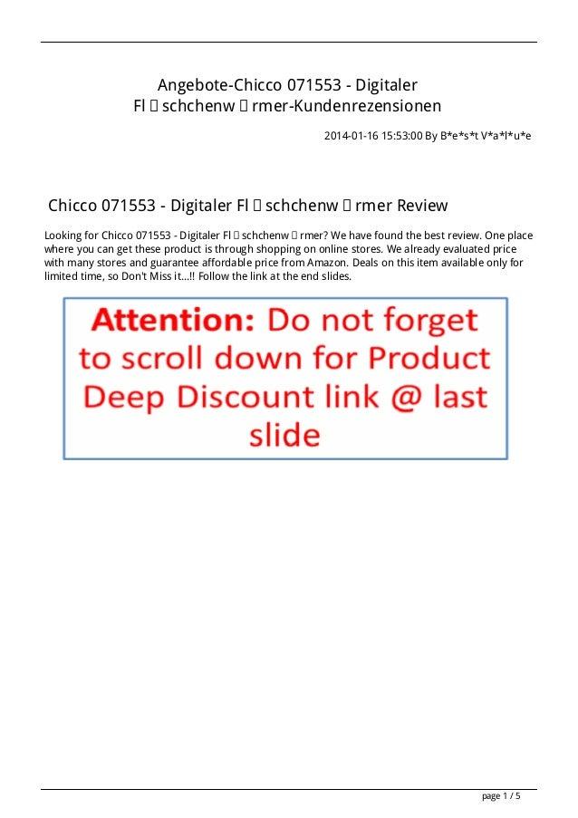 Angebote-Chicco 071553 - Digitaler Fläschchenwärmer-Kundenrezensionen 2014-01-16 15:53:00 By B*e*s*t V*a*l*u*e  Chicco 071...
