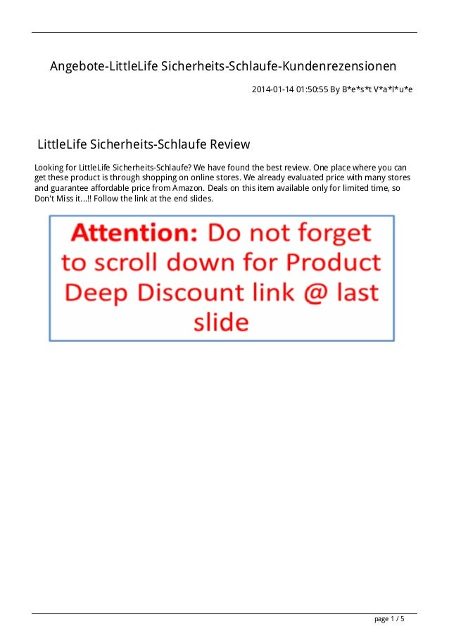 Angebote-LittleLife Sicherheits-Schlaufe-Kundenrezensionen 2014-01-14 01:50:55 By B*e*s*t V*a*l*u*e  LittleLife Sicherheit...