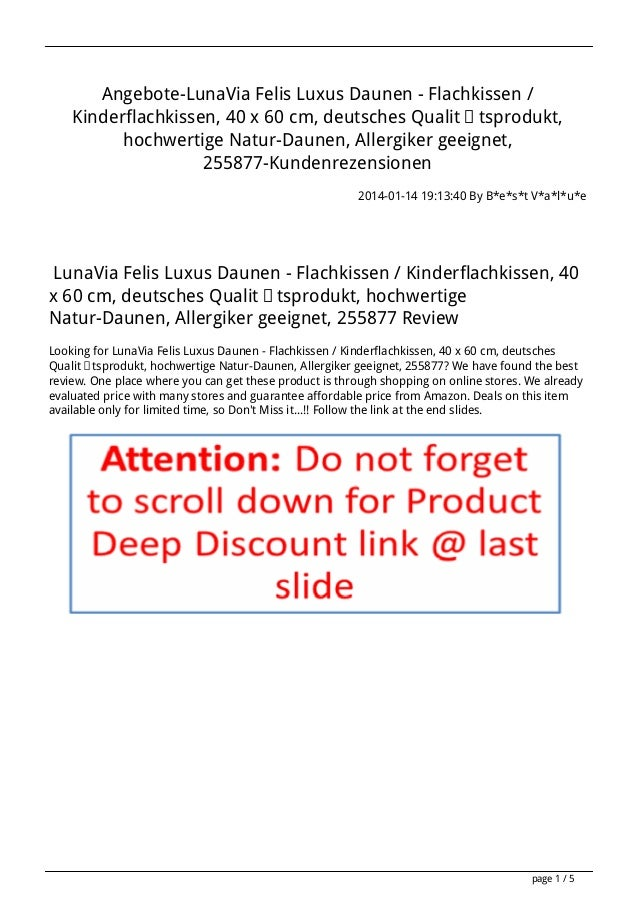 Angebote-LunaVia Felis Luxus Daunen - Flachkissen / Kinderflachkissen, 40 x 60 cm, deutsches Qualitätsprodukt, hochwertige...