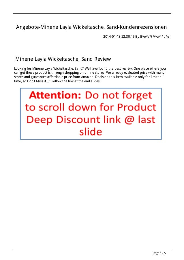 Angebote-Minene Layla Wickeltasche, Sand-Kundenrezensionen 2014-01-13 22:30:45 By B*e*s*t V*a*l*u*e  Minene Layla Wickelta...