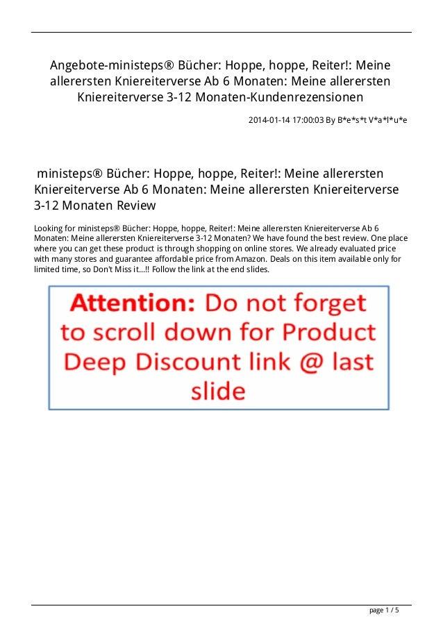 Angebote-ministeps® Bücher: Hoppe, hoppe, Reiter!: Meine allerersten Kniereiterverse Ab 6 Monaten: Meine allerersten Knier...