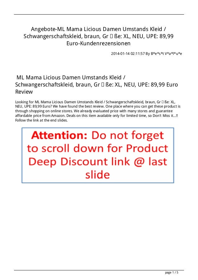Angebote-ML Mama Licious Damen Umstands Kleid / Schwangerschaftskleid, braun, Größe: XL, NEU, UPE: 89,99 Euro-Kundenrezens...