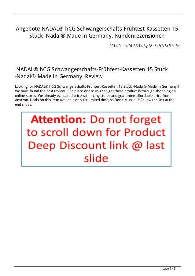 Angebote-NADAL® hCG Schwangerschafts-Frühtest-Kassetten 15 Stück -Nadal®.Made in Germany.-Kundenrezensionen 2014-01-14 01:...