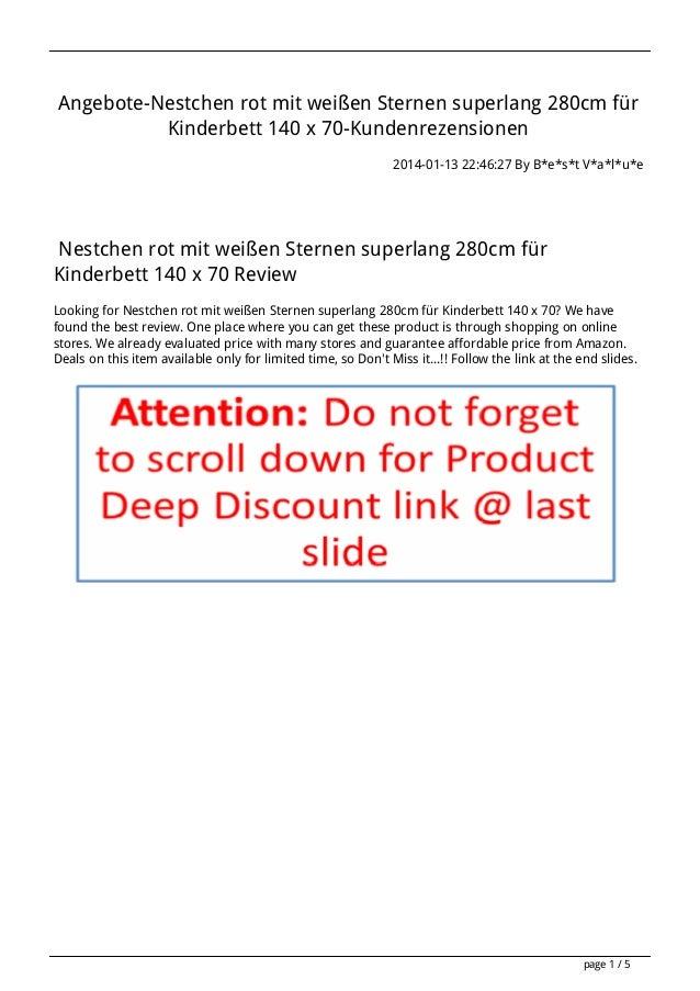 Angebote-Nestchen rot mit weißen Sternen superlang 280cm für Kinderbett 140 x 70-Kundenrezensionen 2014-01-13 22:46:27 By ...