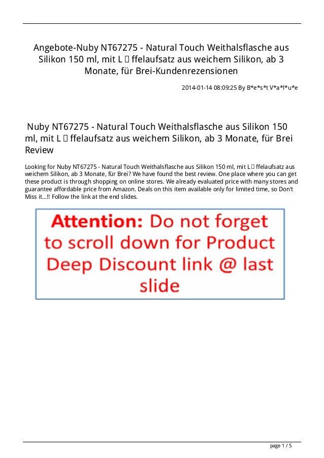 Angebote-Nuby NT67275 - Natural Touch Weithalsflasche aus Silikon 150 ml, mit Löffelaufsatz aus weichem Silikon, ab 3 Mona...