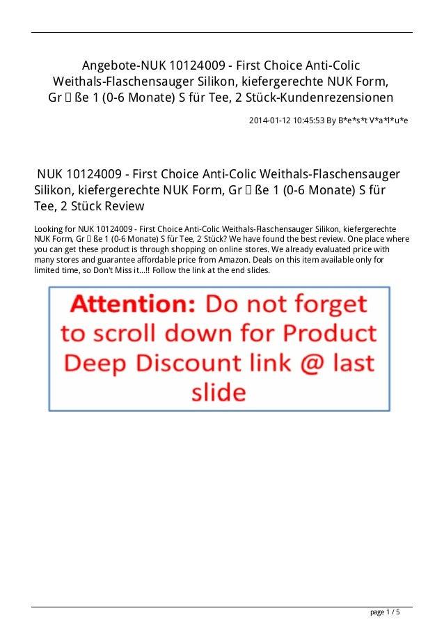 Angebote-NUK 10124009 - First Choice Anti-Colic Weithals-Flaschensauger Silikon, kiefergerechte NUK Form, Größe 1 (0-6 Mon...