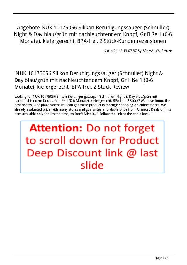 Angebote-NUK 10175056 Silikon Beruhigungssauger (Schnuller) Night & Day blau/grün mit nachleuchtendem Knopf, Größe 1 (0-6 ...