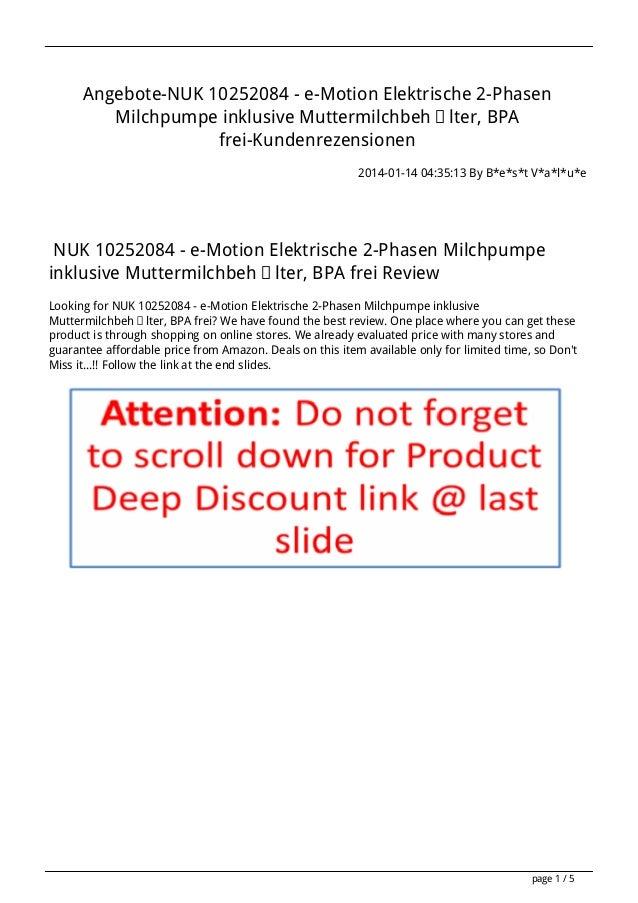 Angebote-NUK 10252084 - e-Motion Elektrische 2-Phasen Milchpumpe inklusive Muttermilchbehälter, BPA frei-Kundenrezensionen...