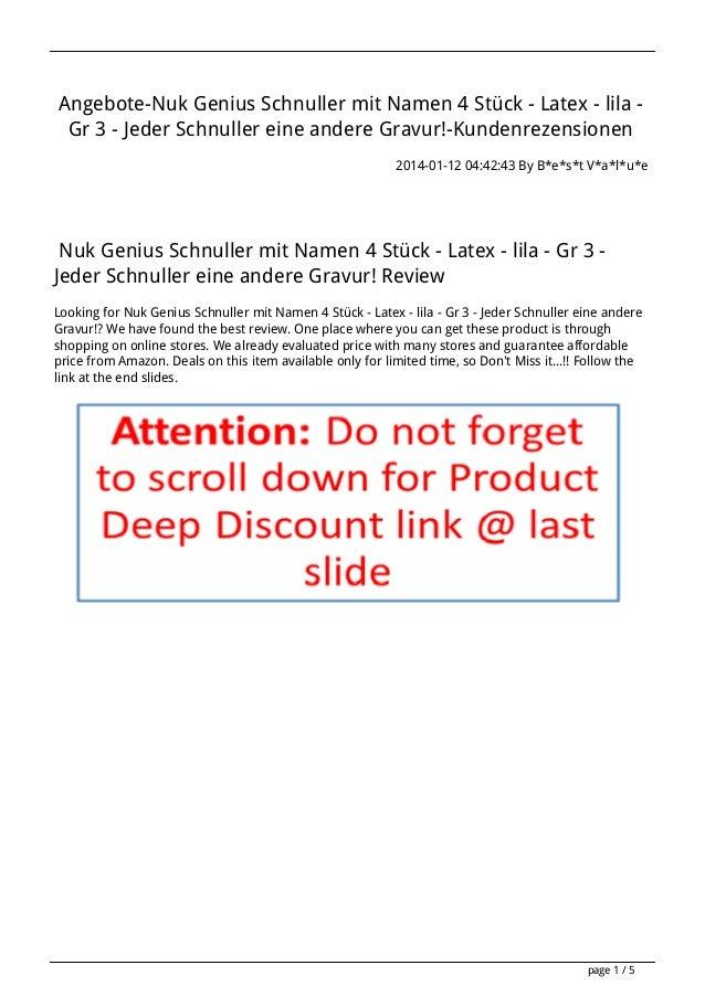 Angebote-Nuk Genius Schnuller mit Namen 4 Stück - Latex - lila Gr 3 - Jeder Schnuller eine andere Gravur!-Kundenrezensione...