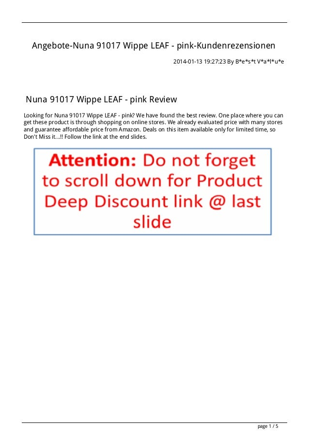 Angebote-Nuna 91017 Wippe LEAF - pink-Kundenrezensionen 2014-01-13 19:27:23 By B*e*s*t V*a*l*u*e  Nuna 91017 Wippe LEAF - ...