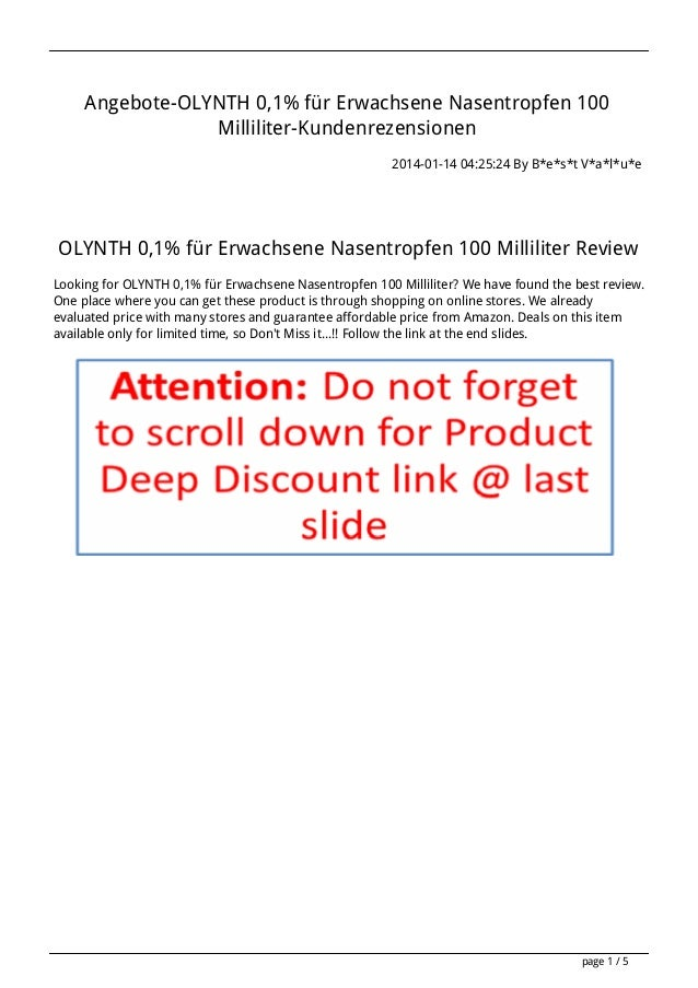 Angebote-OLYNTH 0,1% für Erwachsene Nasentropfen 100 Milliliter-Kundenrezensionen 2014-01-14 04:25:24 By B*e*s*t V*a*l*u*e...