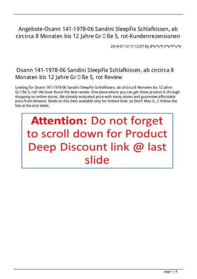 Angebote-Osann 141-1978-06 Sandini SleepFix Schlafkissen, ab circirca 8 Monaten bis 12 Jahre Größe S, rot-Kundenrezensione...
