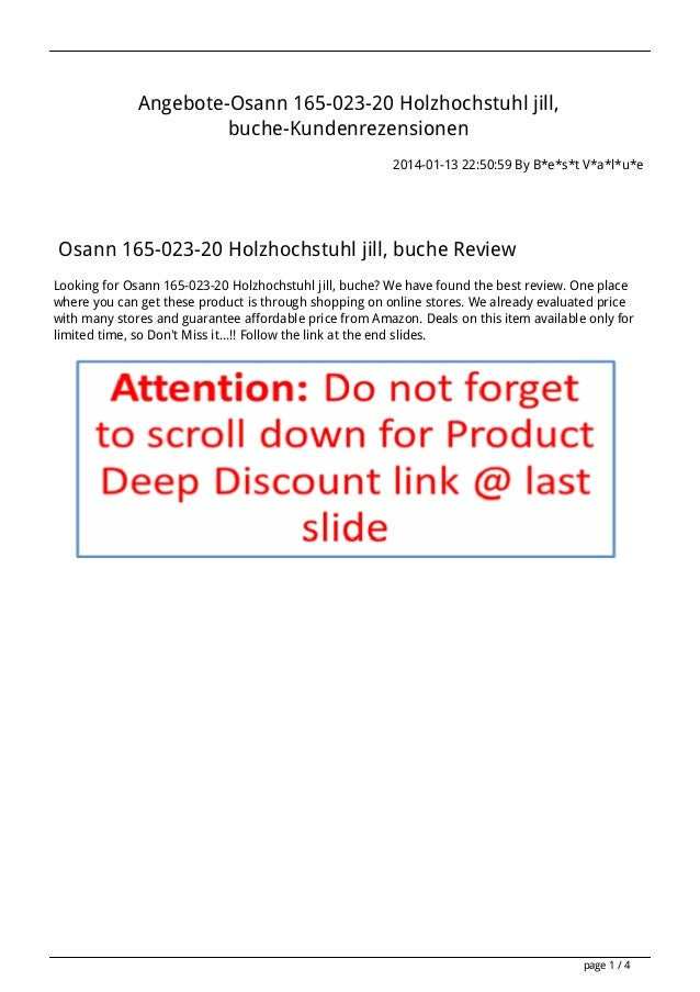 Angebote-Osann 165-023-20 Holzhochstuhl jill, buche-Kundenrezensionen 2014-01-13 22:50:59 By B*e*s*t V*a*l*u*e  Osann 165-...