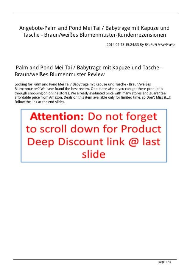 Angebote-Palm and Pond Mei Tai / Babytrage mit Kapuze und Tasche - Braun/weißes Blumenmuster-Kundenrezensionen 2014-01-13 ...