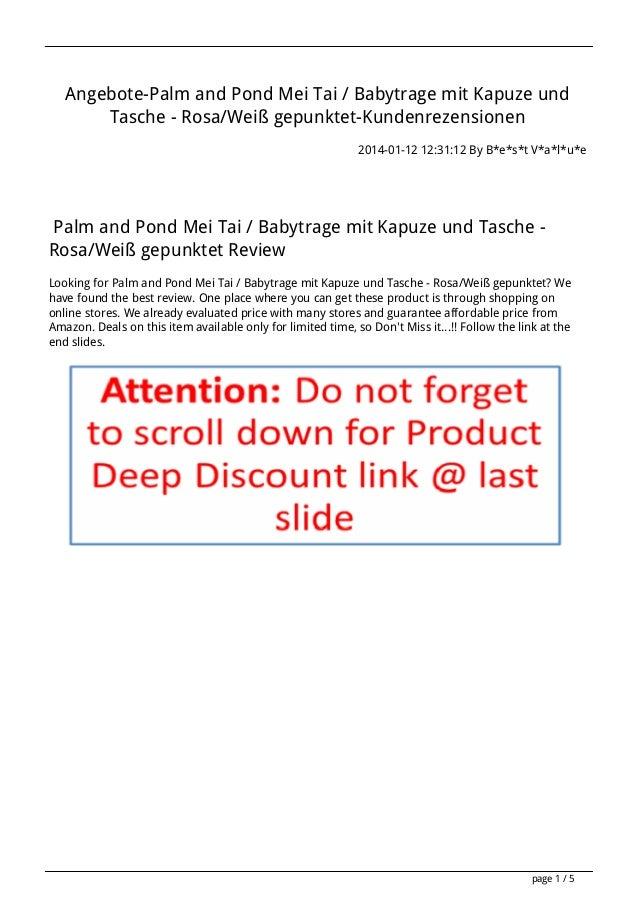 Angebote-Palm and Pond Mei Tai / Babytrage mit Kapuze und Tasche - Rosa/Weiß gepunktet-Kundenrezensionen 2014-01-12 12:31:...